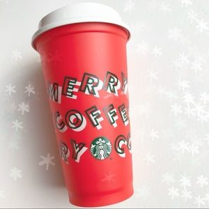 New Starbucks Merry Coffee Red Holiday Hot Cup 16